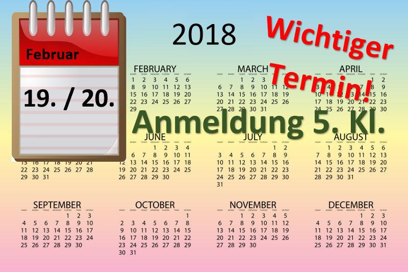 Anmeldung neue 5. Klassen (19./20.02-2018)